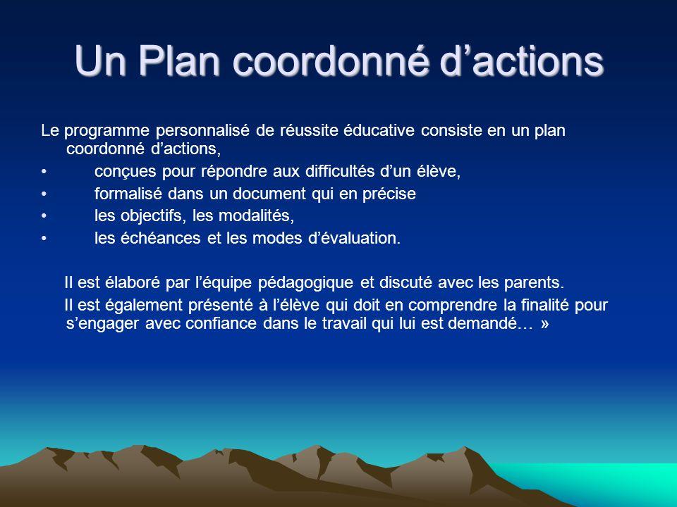 Un Plan coordonné dactions Le programme personnalisé de réussite éducative consiste en un plan coordonné dactions, conçues pour répondre aux difficult