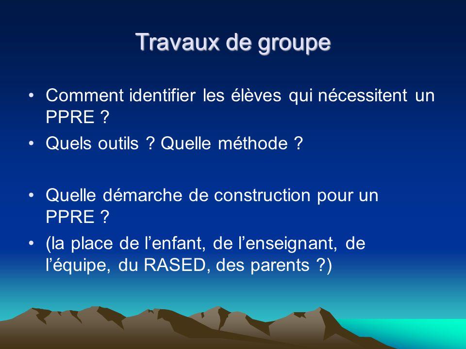 Travaux de groupe Comment identifier les élèves qui nécessitent un PPRE ? Quels outils ? Quelle méthode ? Quelle démarche de construction pour un PPRE