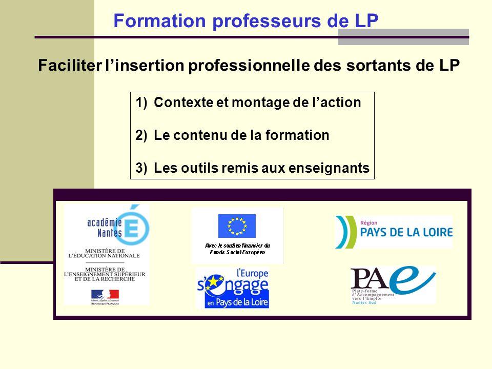 Formation professeurs de LP Faciliter linsertion professionnelle des sortants de LP 1)Contexte et montage de laction 2)Le contenu de la formation 3)Le