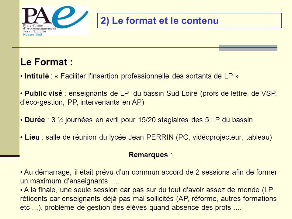 2) Le format et le contenu Le Format : Intitulé : « Faciliter linsertion professionnelle des sortants de LP » Public visé : enseignants de LP du bassin Sud-Loire (profs de lettre, de VSP, déco-gestion, PP, intervenants en AP) Durée : 3 ½ journées en avril pour 15/20 stagiaires des 5 LP du bassin Lieu : salle de réunion du lycée Jean PERRIN (PC, vidéoprojecteur, tableau) Remarques : Au démarrage, il était prévu dun commun accord de 2 sessions afin de former un maximum denseignants....