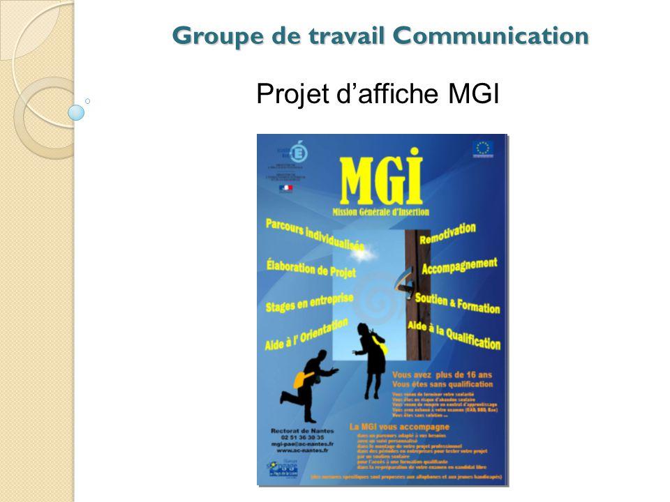 Groupe de travail Communication Projet de signalétique