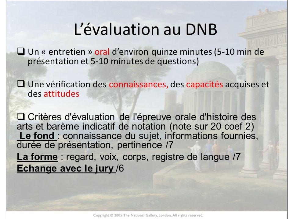 HISTOIRE DES ARTS Lévaluation au DNB Un « entretien » oral denviron quinze minutes (5-10 min de présentation et 5-10 minutes de questions) Une vérific