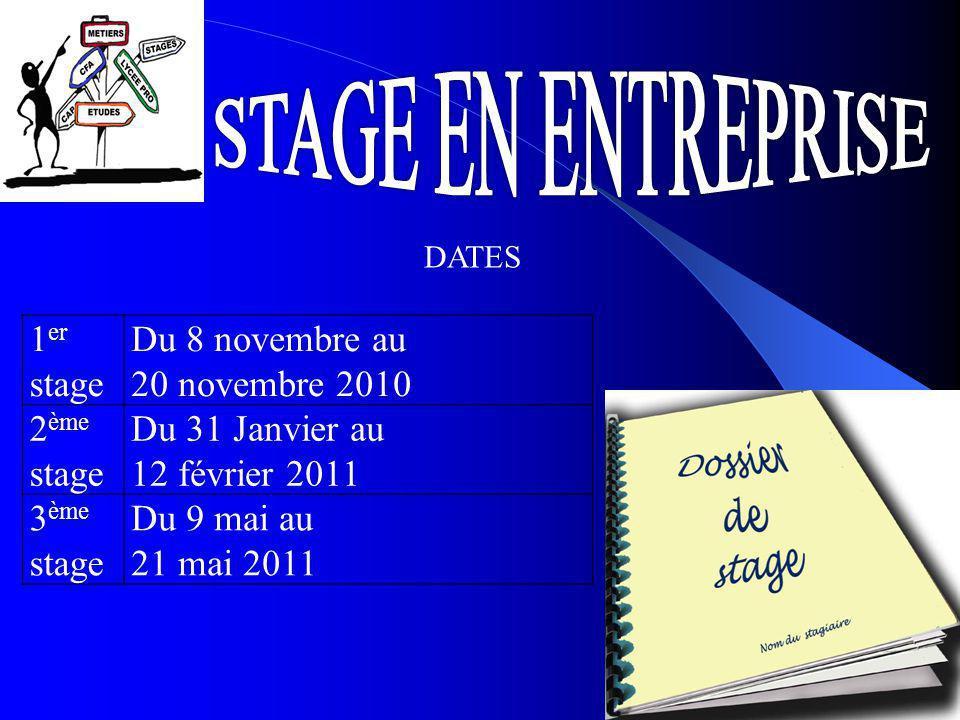 1 er stage Du 8 novembre au 20 novembre 2010 2 ème stage Du 31 Janvier au 12 février 2011 3 ème stage Du 9 mai au 21 mai 2011 DATES