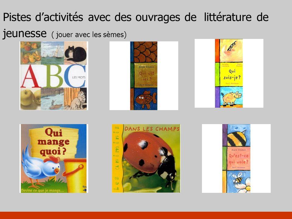 Pistes dactivités avec des ouvrages de littérature de jeunesse ( jouer avec les sèmes)