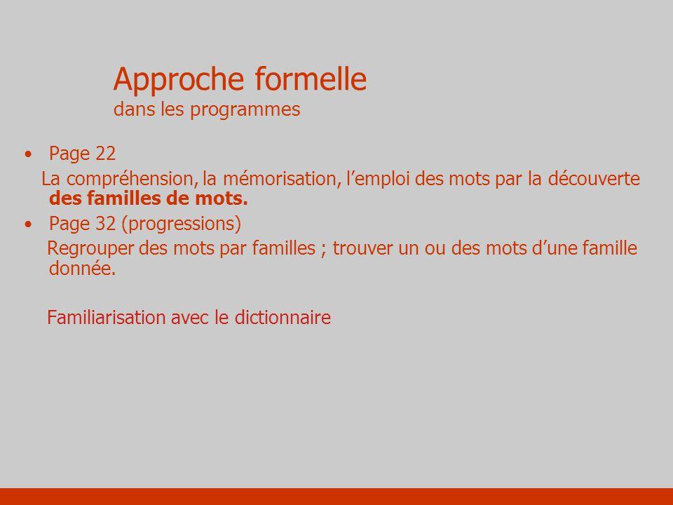 Approche formelle dans les programmes Page 22 La compréhension, la mémorisation, lemploi des mots par la découverte des familles de mots. Page 32 (pro