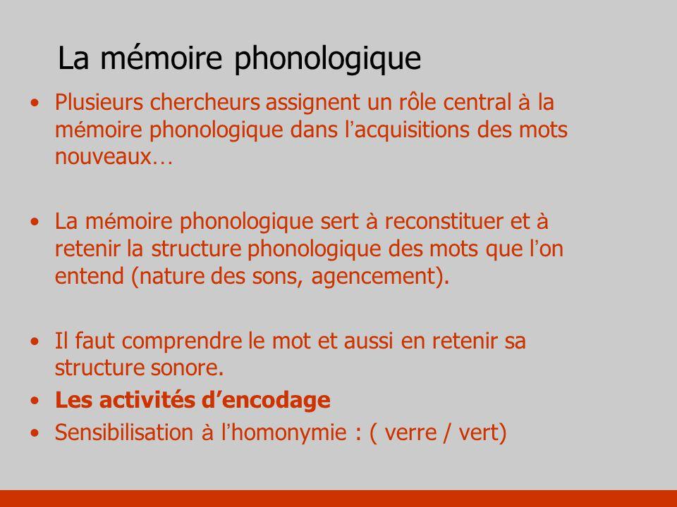 La mémoire phonologique Plusieurs chercheurs assignent un rôle central à la m é moire phonologique dans l acquisitions des mots nouveaux … La m é moir