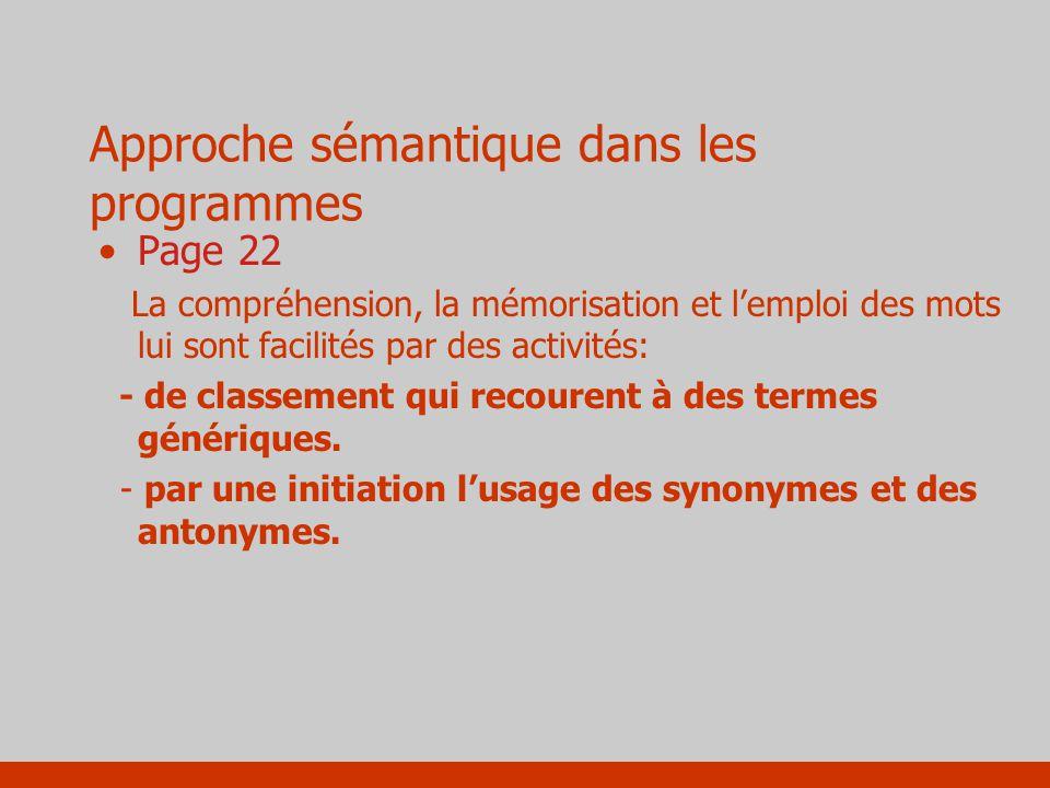 Approche sémantique dans les programmes Page 22 La compréhension, la mémorisation et lemploi des mots lui sont facilités par des activités: - de class