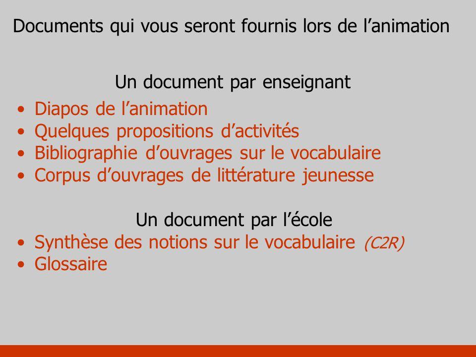 Un document par enseignant Diapos de lanimation Quelques propositions dactivités Bibliographie douvrages sur le vocabulaire Corpus douvrages de littér