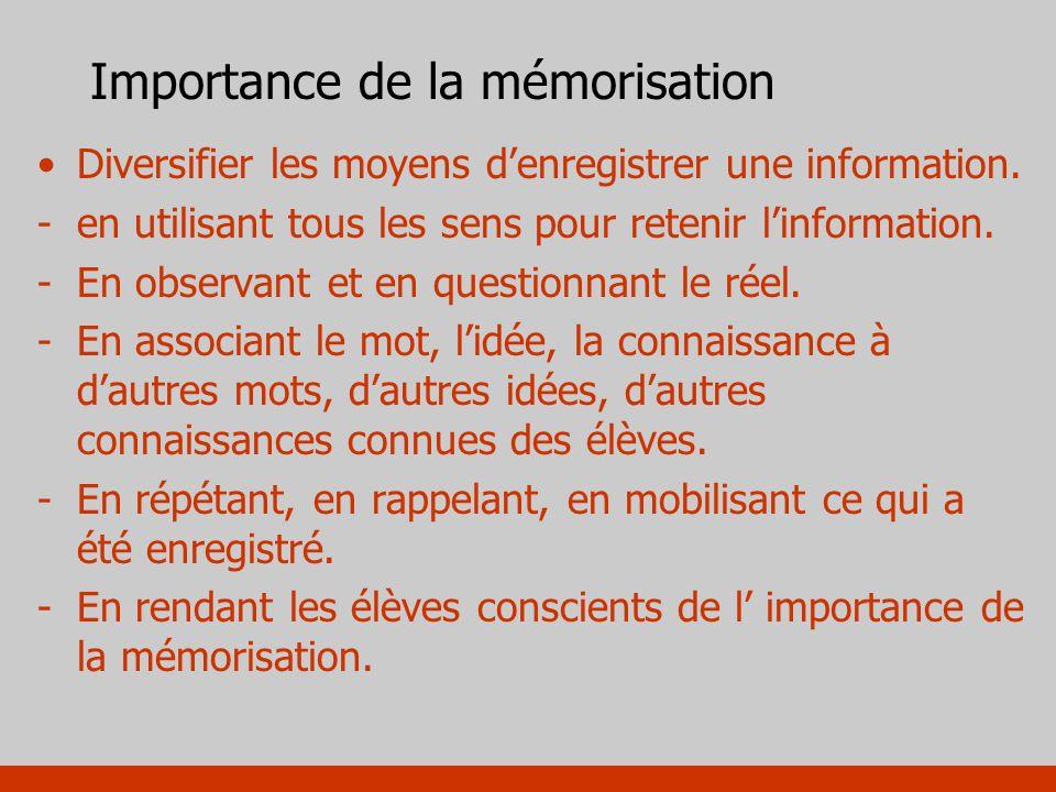 Importance de la mémorisation Diversifier les moyens denregistrer une information. -en utilisant tous les sens pour retenir linformation. -En observan
