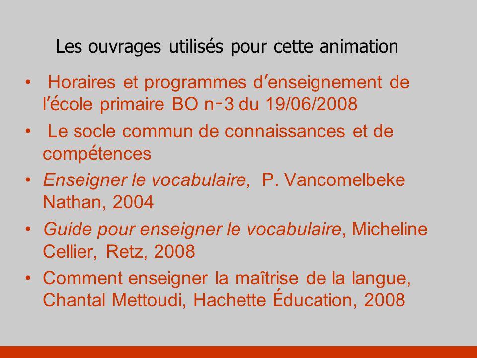 Les instructions officielles :programmes 2008 Le vocabulaire fait partie de la maîtrise de la langue et son enseignement est organisé sur les trois cycles.