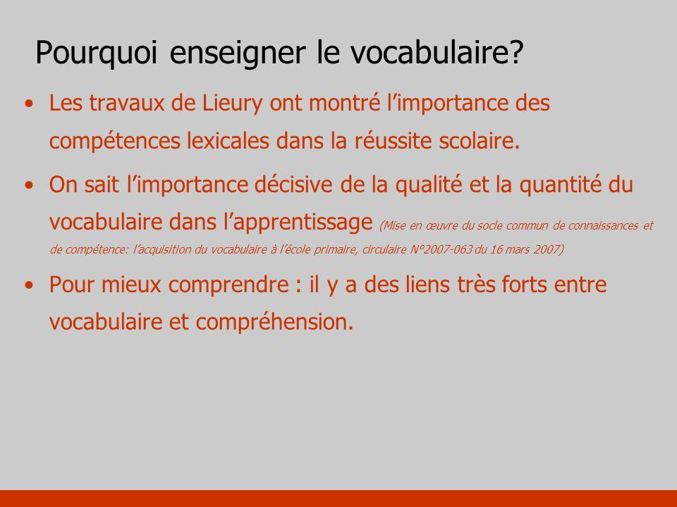 Pourquoi enseigner le vocabulaire? Les travaux de Lieury ont montré limportance des compétences lexicales dans la réussite scolaire. On sait limportan