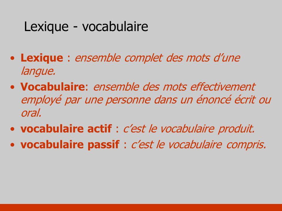 Lexique - vocabulaire Lexique : ensemble complet des mots dune langue. Vocabulaire: ensemble des mots effectivement employé par une personne dans un é