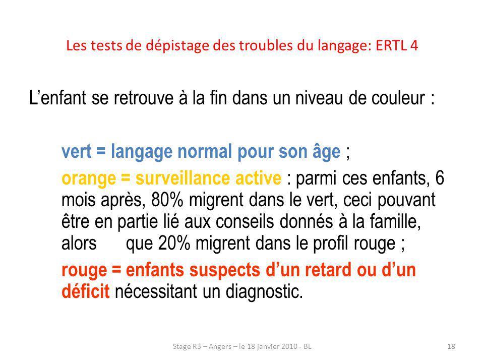 Les tests de dépistage des troubles du langage: ERTL 4 Lenfant se retrouve à la fin dans un niveau de couleur : vert = langage normal pour son âge ; o