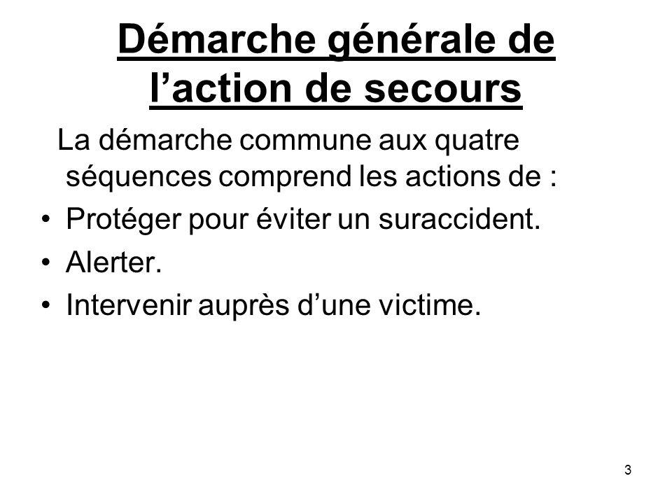 Démarche générale de laction de secours La démarche commune aux quatre séquences comprend les actions de : Protéger pour éviter un suraccident. Alerte