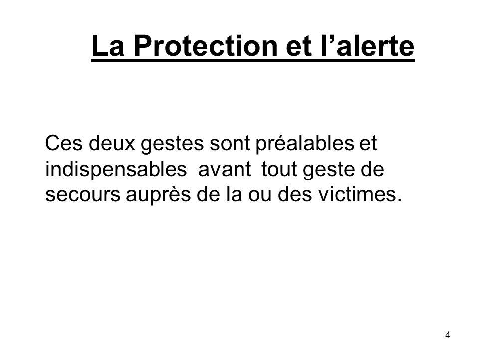 La Protection et lalerte Ces deux gestes sont préalables et indispensables avant tout geste de secours auprès de la ou des victimes. 4