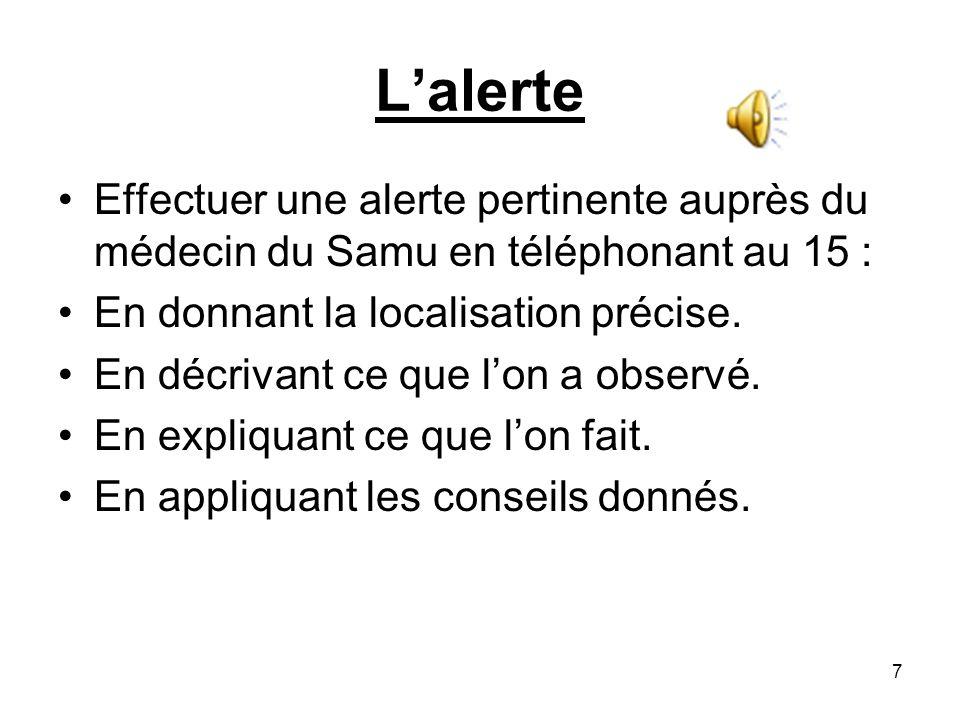 Lalerte Effectuer une alerte pertinente auprès du médecin du Samu en téléphonant au 15 : En donnant la localisation précise. En décrivant ce que lon a