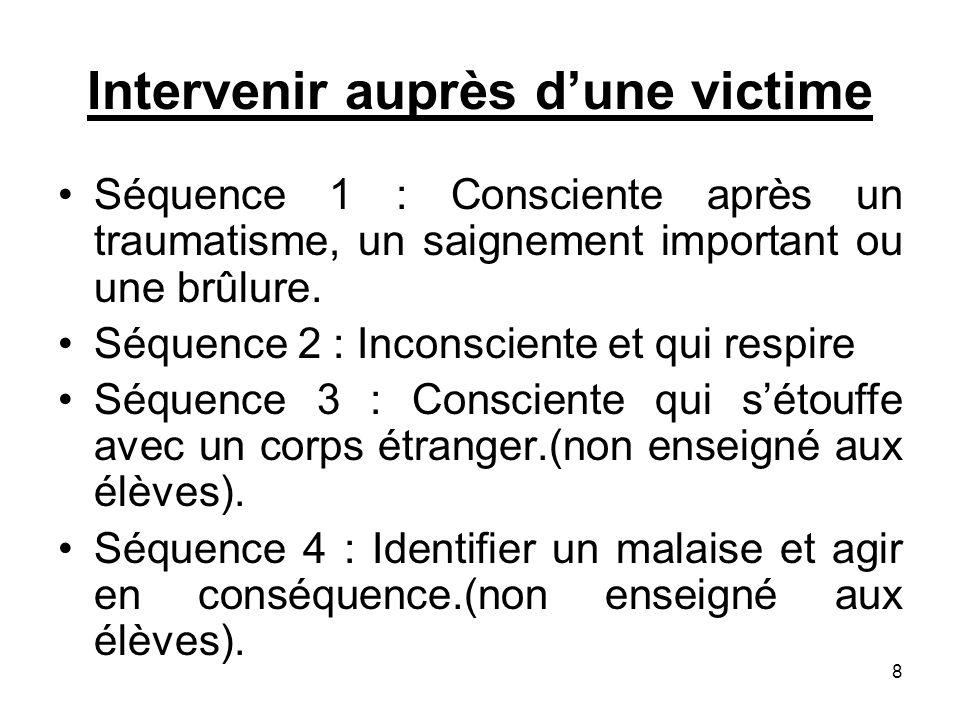 Intervenir auprès dune victime Séquence 1 : Consciente après un traumatisme, un saignement important ou une brûlure. Séquence 2 : Inconsciente et qui