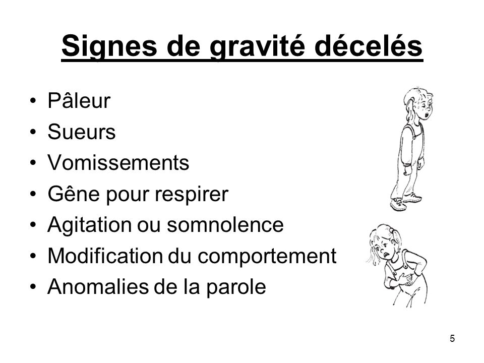 Signes de gravité décelés Pâleur Sueurs Vomissements Gêne pour respirer Agitation ou somnolence Modification du comportement Anomalies de la parole 5