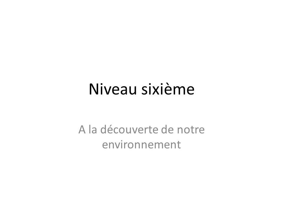Niveau sixième A la découverte de notre environnement