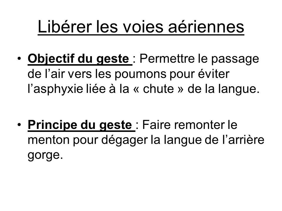 Libérer les voies aériennes Objectif du geste : Permettre le passage de lair vers les poumons pour éviter lasphyxie liée à la « chute » de la langue.