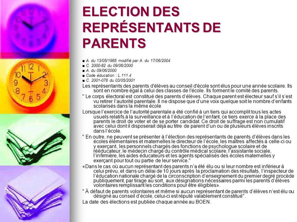 ELECTION DES REPRÉSENTANTS DE PARENTS A. du 13/05/1985 modifié par A. du 17/06/2004 A. du 13/05/1985 modifié par A. du 17/06/2004 C. 2000-82 du 09/06/