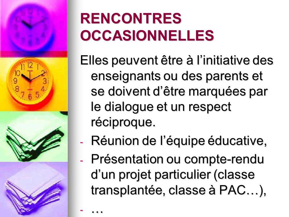 RENCONTRES OCCASIONNELLES Elles peuvent être à linitiative des enseignants ou des parents et se doivent dêtre marquées par le dialogue et un respect r