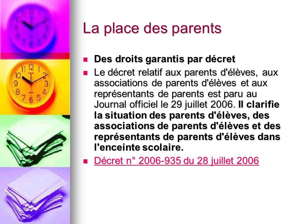 La place des parents Des droits garantis par décret Des droits garantis par décret Le décret relatif aux parents d'élèves, aux associations de parents