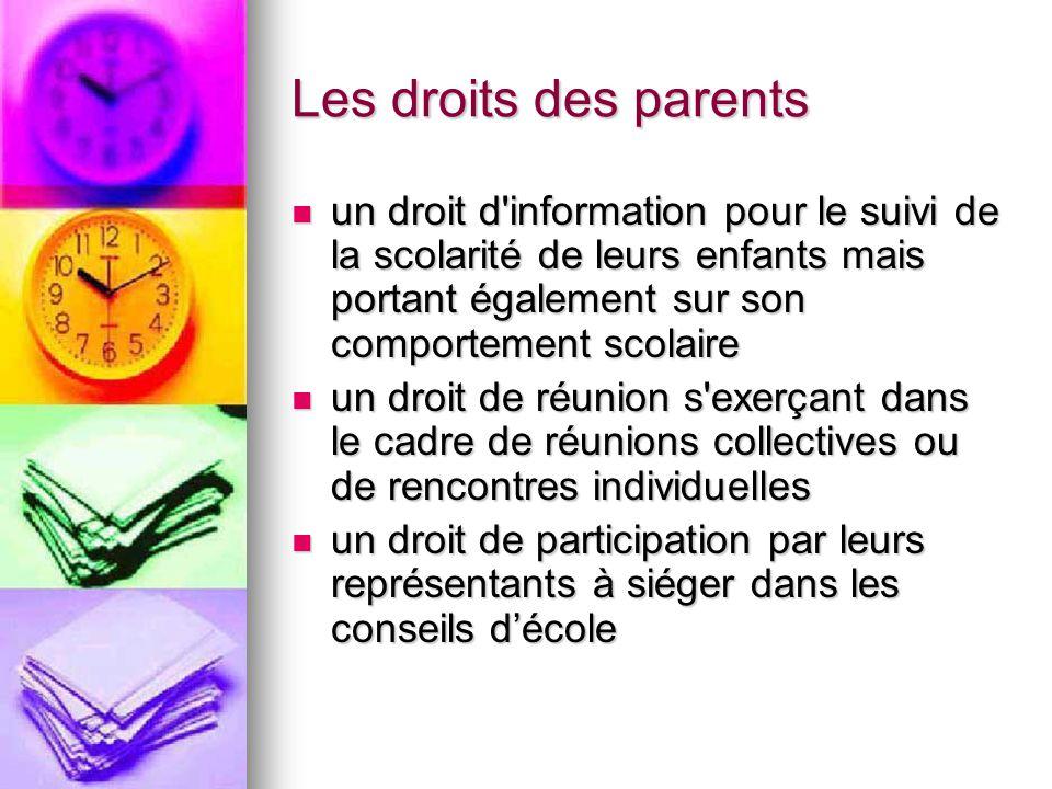Les droits des parents un droit d'information pour le suivi de la scolarité de leurs enfants mais portant également sur son comportement scolaire un d