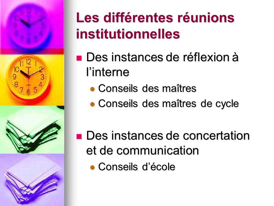 Les différentes réunions institutionnelles Des instances de réflexion à linterne Des instances de réflexion à linterne Conseils des maîtres Conseils d