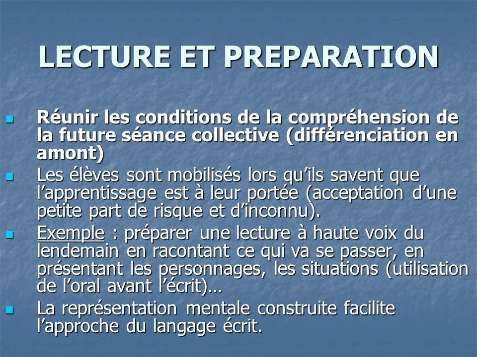 LECTURE ET PREPARATION Réunir les conditions de la compréhension de la future séance collective (différenciation en amont) Réunir les conditions de la