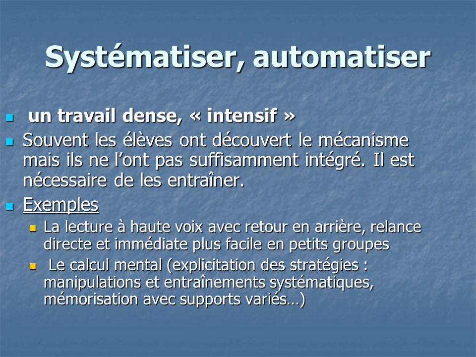 Systématiser, automatiser un travail dense, « intensif » un travail dense, « intensif » Souvent les élèves ont découvert le mécanisme mais ils ne lont
