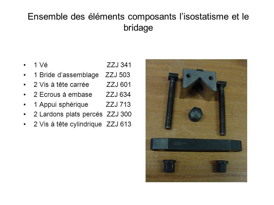 Ensemble des éléments composants lisostatisme et le bridage 1 Vé ZZJ 341 1 Bride dassemblage ZZJ 503 2 Vis à tête carrée ZZJ 601 2 Ecrous à embase ZZJ
