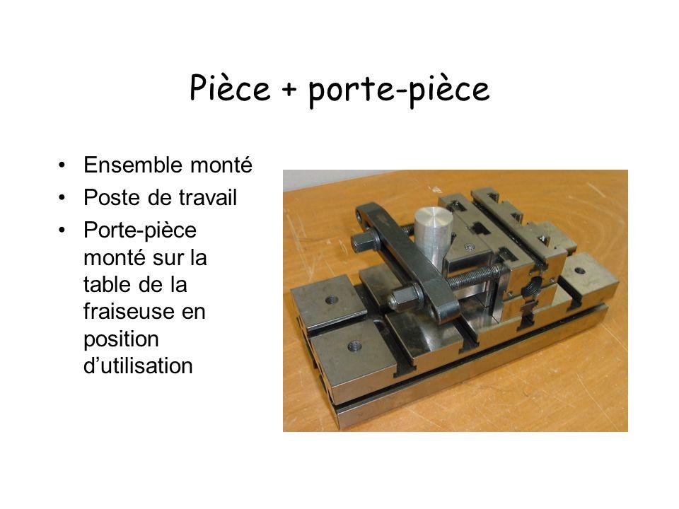 Pièce + porte-pièce Ensemble monté Poste de travail Porte-pièce monté sur la table de la fraiseuse en position dutilisation