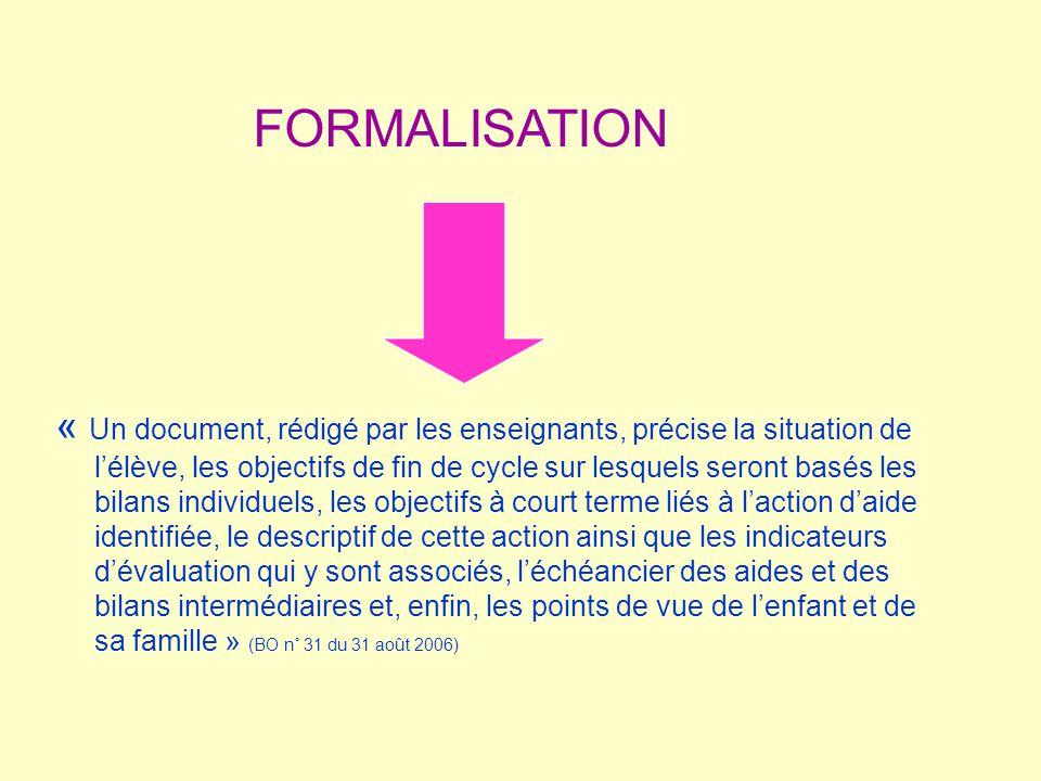 « Un document, rédigé par les enseignants, précise la situation de lélève, les objectifs de fin de cycle sur lesquels seront basés les bilans individu