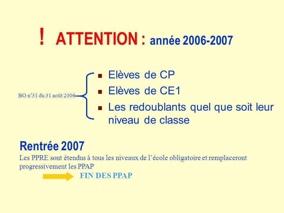 ! ATTENTION : année 2006-2007 Elèves de CP Elèves de CE1 Les redoublants quel que soit leur niveau de classe BO n°31 du 31 août 2006 Rentrée 2007 Les