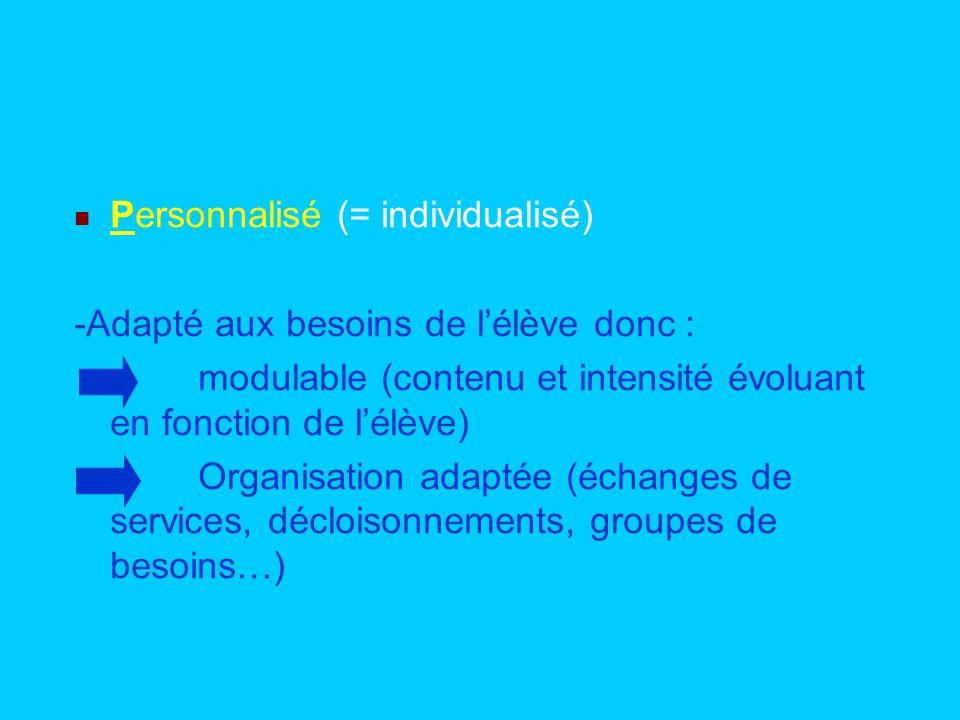 Personnalisé (= individualisé) -Adapté aux besoins de lélève donc : modulable (contenu et intensité évoluant en fonction de lélève) Organisation adapt