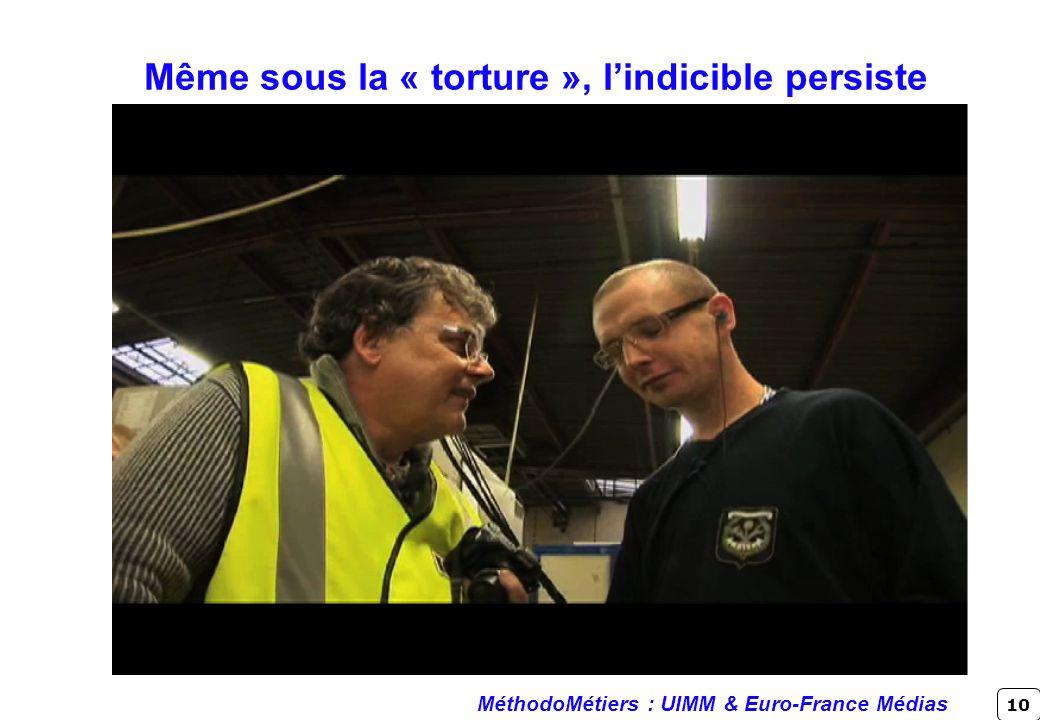 10 Même sous la « torture », lindicible persiste MéthodoMétiers : UIMM & Euro-France Médias