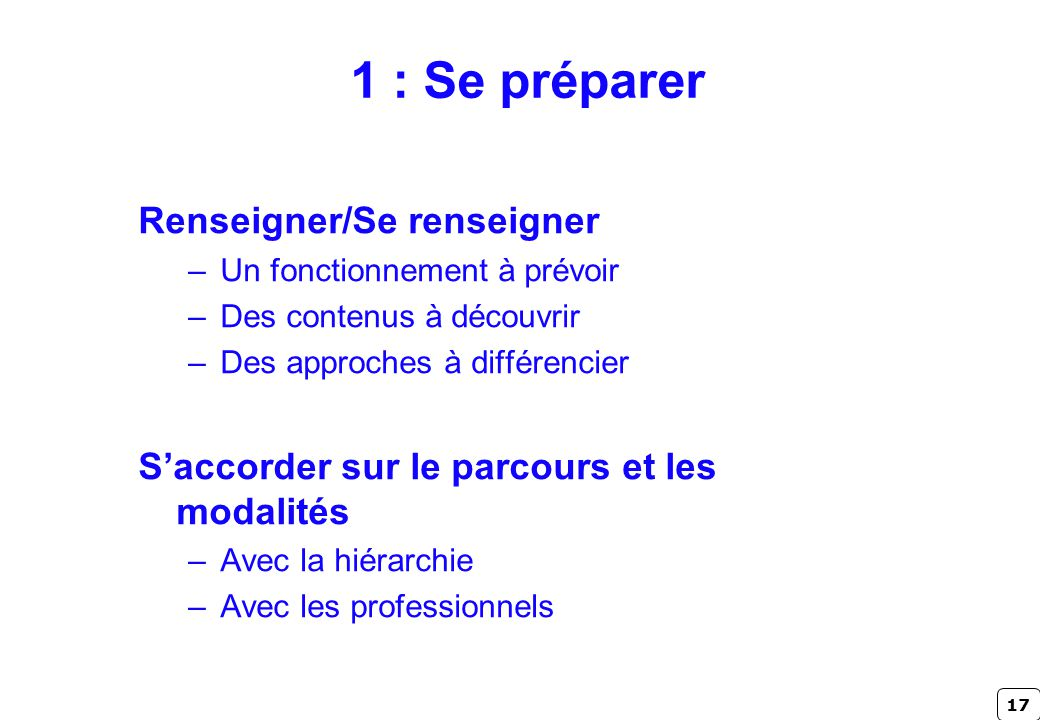 17 1 : Se préparer Renseigner/Se renseigner –Un fonctionnement à prévoir –Des contenus à découvrir –Des approches à différencier Saccorder sur le parc