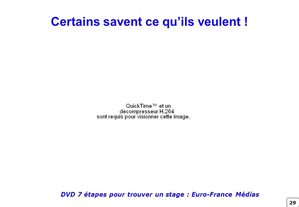 29 DVD 7 étapes pour trouver un stage : Euro-France Médias Certains savent ce quils veulent !