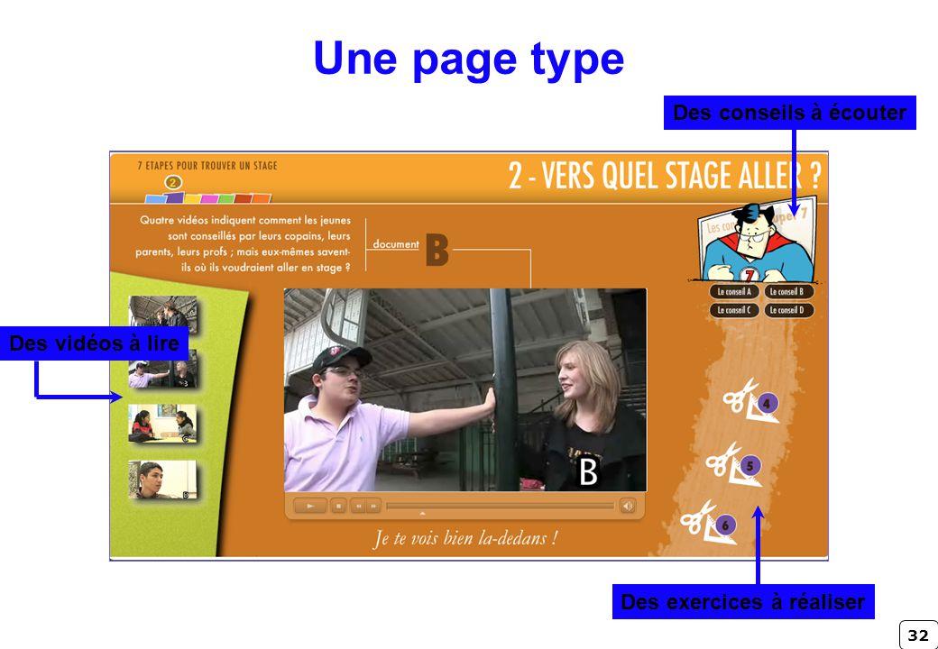 32 Une page type Des conseils à écouter Des exercices à réaliser Des vidéos à lire