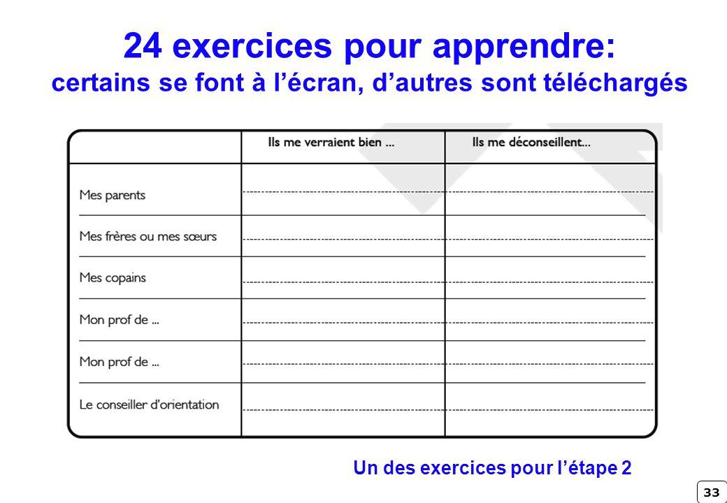 33 24 exercices pour apprendre: certains se font à lécran, dautres sont téléchargés Un des exercices pour létape 2