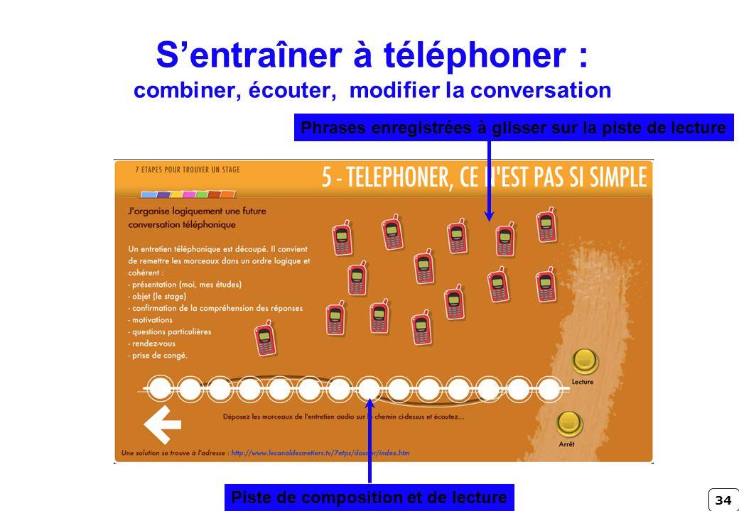 34 Sentraîner à téléphoner : combiner, écouter, modifier la conversation Phrases enregistrées à glisser sur la piste de lecture Piste de composition e