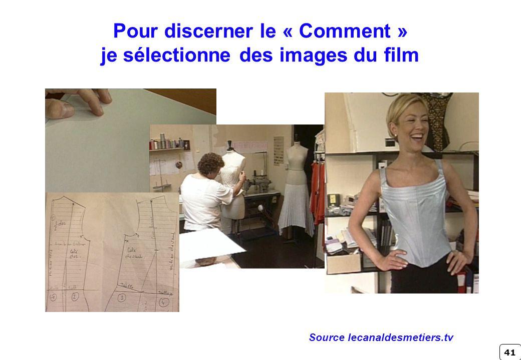 41 Pour discerner le « Comment » je sélectionne des images du film Source lecanaldesmetiers.tv