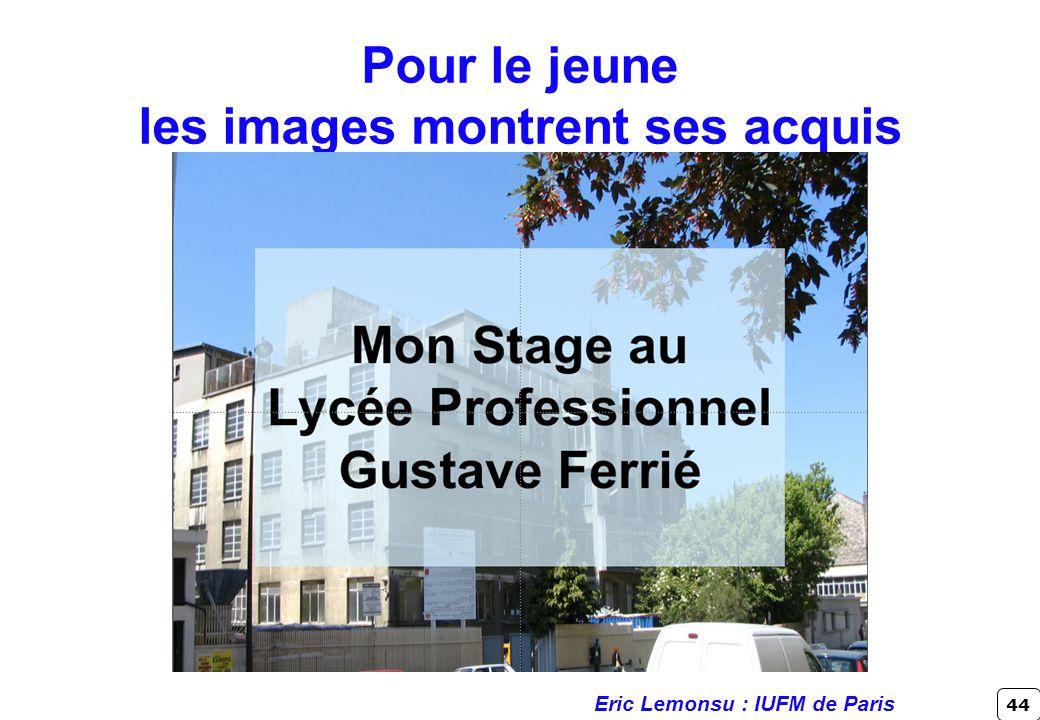 44 Pour le jeune les images montrent ses acquis Eric Lemonsu : IUFM de Paris