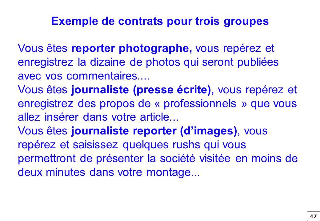 47 Exemple de contrats pour trois groupes Vous êtes reporter photographe, vous repérez et enregistrez la dizaine de photos qui seront publiées avec vo
