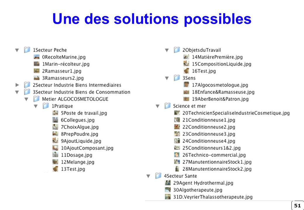 51 Une des solutions possibles