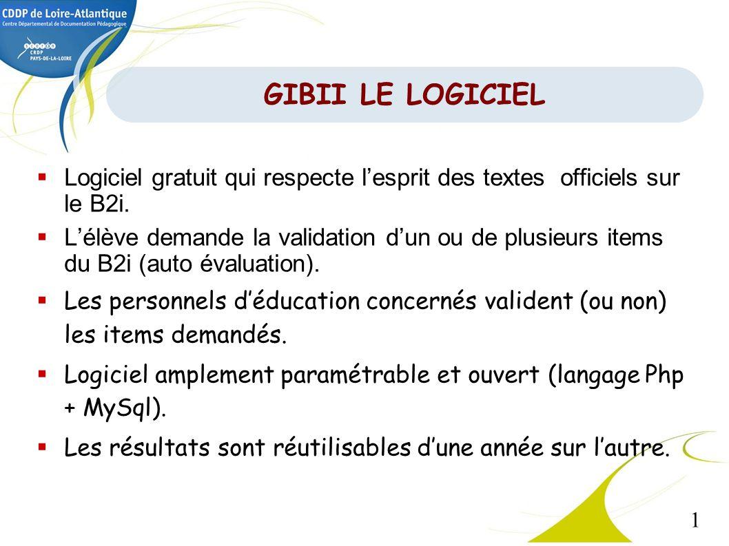 1 GIBII LE LOGICIEL Logiciel gratuit qui respecte lesprit des textes officiels sur le B2i. Lélève demande la validation dun ou de plusieurs items du B