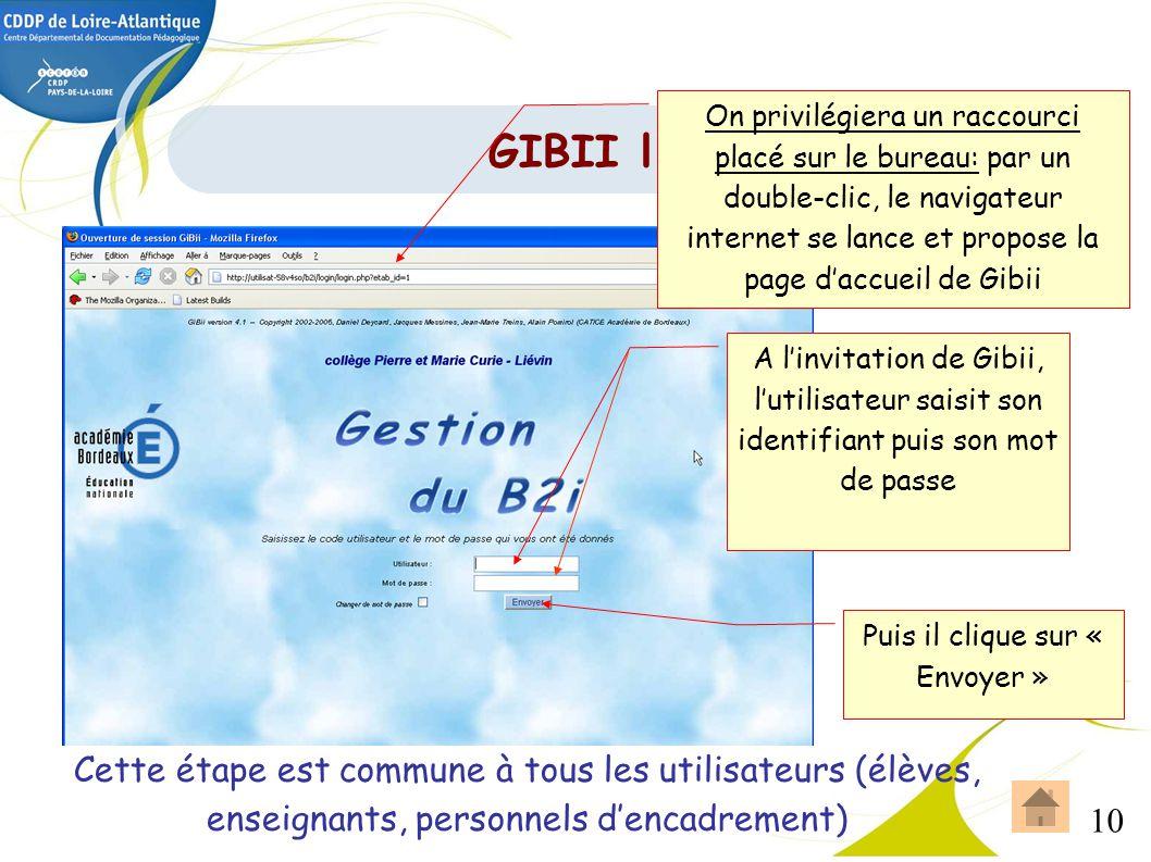 10 GIBII l'accès On privilégiera un raccourci placé sur le bureau: par un double-clic, le navigateur internet se lance et propose la page daccueil de
