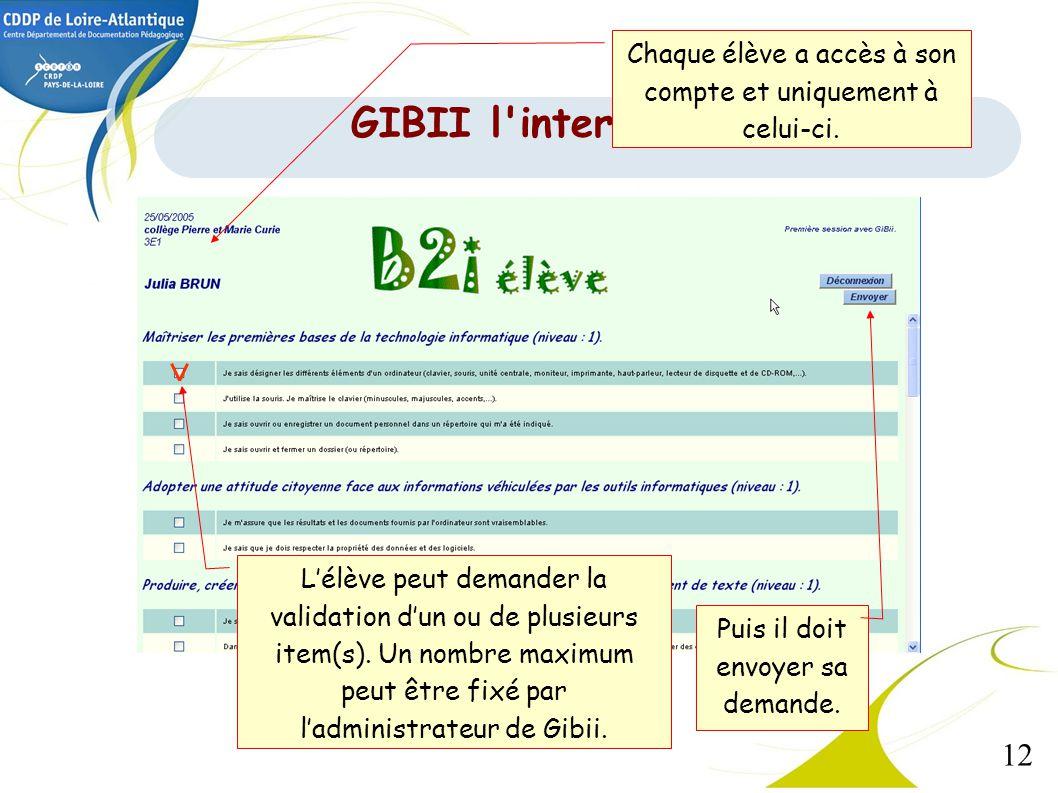 12 Lélève peut demander la validation dun ou de plusieurs item(s). Un nombre maximum peut être fixé par ladministrateur de Gibii. Puis il doit envoyer