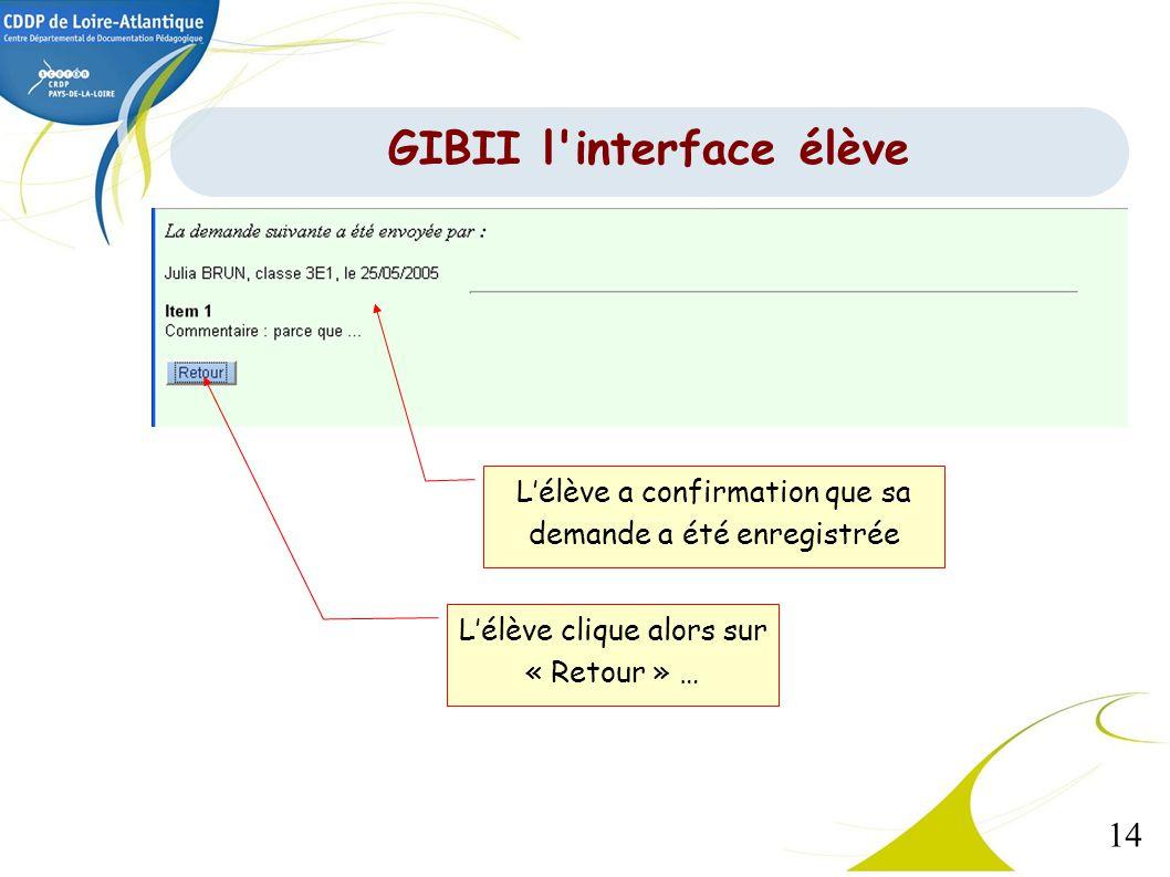 14 Lélève a confirmation que sa demande a été enregistrée Lélève clique alors sur « Retour » … GIBII l'interface élève